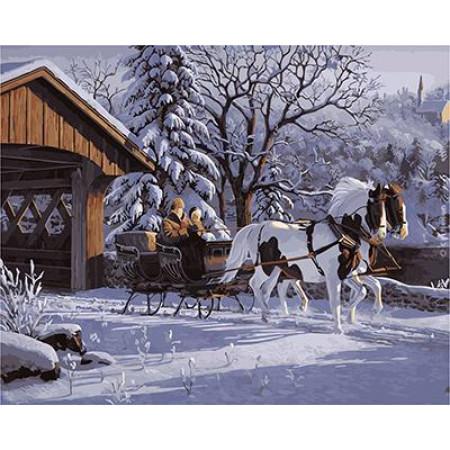 """GX21711 """"Лошади с санями, дом"""", 40х50 см"""