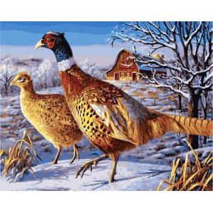 "GX21736 ""Пара фазанов на снегу"", 40х50 см"