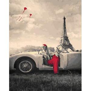 """GX21749 """"Девушка в белом авто у Эйфелевой башни"""", 40х50 см"""