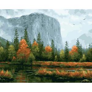 """GX21857 """"Осенний лес у подножия скалы"""", 40х50 см"""
