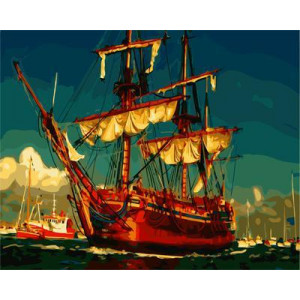 """GX21861 """"Корабль со спущенными парусами"""", 40х50 см"""