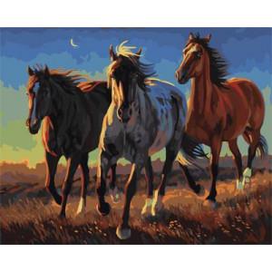 """GX21863 """"Три коня в степи"""", 40х50 см"""