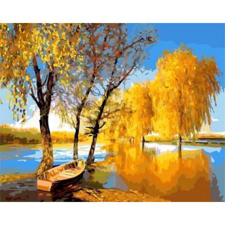 """GX21867 """"Золотая осень, лодка на реке"""", 40х50 см"""
