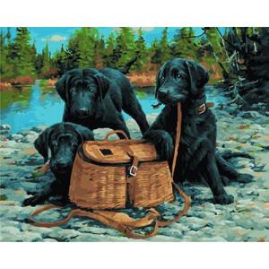 """GX21912 """"Три черных пса на охоте"""", 40х50 см"""