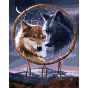 """GX22015 """"Ловец снов с двумя волками"""", 40х50 см"""