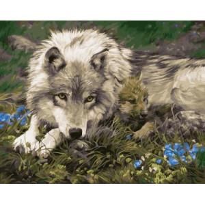"""GX21195 """"Мама-волчица с волчонком"""", 40х50 см"""