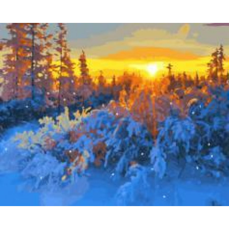 "GX21519 ""Закат в зимнем лесу"", 40х50 см"
