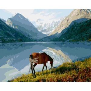 """GX5245 """"Конь у горного озера"""", 40х50 см"""