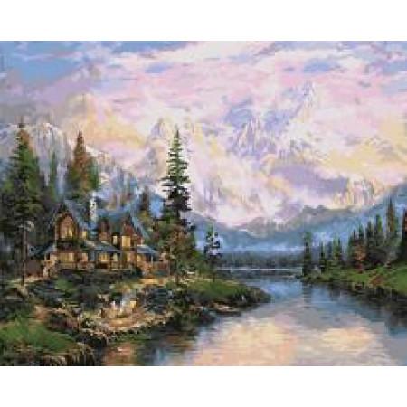 """GX5971 """"Старинный дом у подножья гор"""", 40х50 см"""