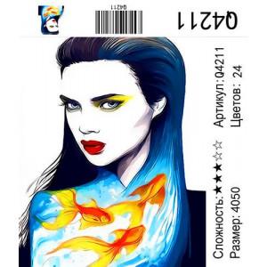 """Q4211 """"Девушка с рыбами"""", 40х50 см"""