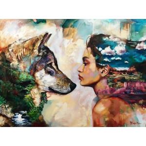 """GХ4921 """"Девушка смотрит на волка"""", 40х50 см"""