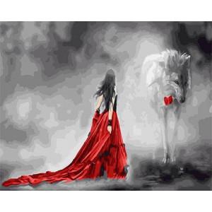 """GX 22576 """"Девушка в красном и волк с розой"""", 40х50 см"""