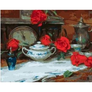 """MCA1002 Картина по номерам """"Старинные часы"""",  40х50 см"""