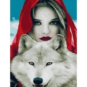 "MCA1035 Картина по номерам ""Девушка и белый волк"",  40х50 см"