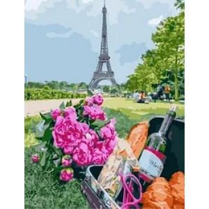 "MCA1039 Картина по номерам ""Французский багет и вино"",  40х50 см"