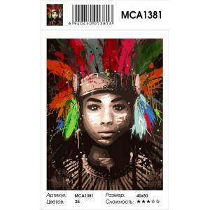 "MCA1381 Картина по номерам ""Индеец яркими красками"", 40х50 см"