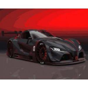 "GX 22416 ""Черный суперкар на красном фоне"", 40х50 см"