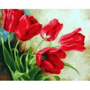 """МСА360 Картина по номерам  """"Красные тюльпаны"""",  40х50 см"""