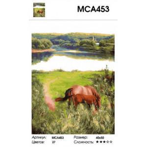"""МСА453 Картина по номерам  """"Лошадь с жеребенком у озера"""",  40х50 см"""