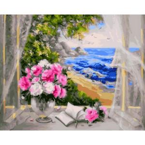 Картина по номерам 40х50 GX 23064 Цветы и море 40x50 см