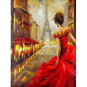 GX24356 Девушка на улице Парижа  - Картины по номерам 40х50см