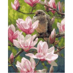 "GX24986 Картина по номерам "" Птичка на цветущей ветке"", 40х50 см"
