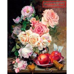 Картина по номерам 40х50 Эксклюзив!!! GX 25868 Мед и розы 40x50 см