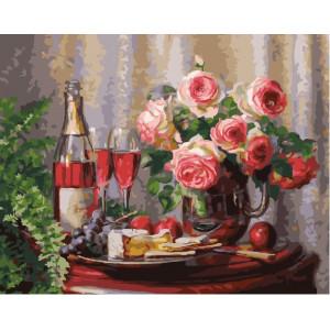 """GX27266 Картина по номерам """"Розы и вино"""", 40х50 см"""