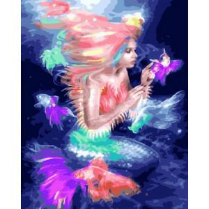 Картина по номерам 40х50 GX 27605 Русалка и рыбки 40x50 см