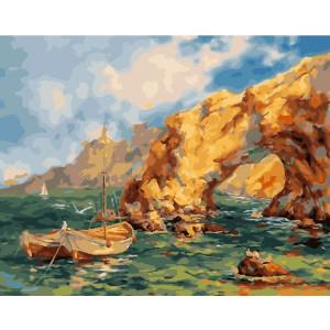 """GX27771 Картина по номерам """"Лодки у бухты"""" 40х50 см"""