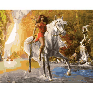 """GX27781 Картина по номерам """"Амазонка на лошади"""" 40х50 см"""