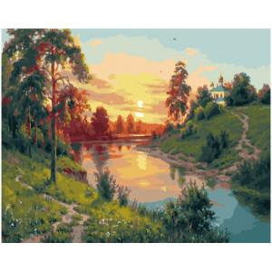 """GX27883 Картина по номерам """"Закат на реке"""", 40х50 см"""