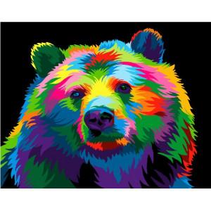 "GX28004 Картина по номерам ""Радужный медведь"", 40х50 см"
