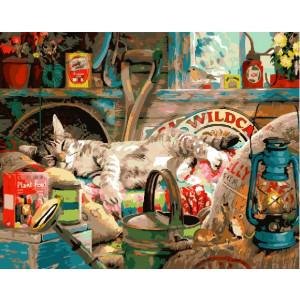 """GX28022 Картина по номерам """"Сладкий сон кота"""", 40х50 см"""