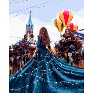 Картина по номерам 40х50 GX 28077 Синее платье 40x50 см