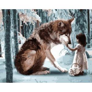 Картина по номерам 40х50 GX 28406 Девочка и волк 40x50 см