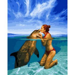 Картина по номерам 40х50 GX 28975 Поцелуй с дельфином 40x50 см