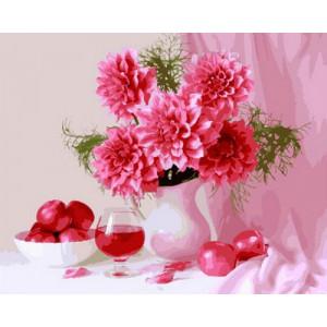 Картина по номерам 40х50 GX 28992 Георгины и вино 40x50 см