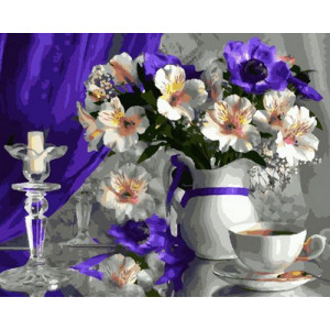 Картина по номерам 40х50 GX 29001 Цветы и чай 40x50 см