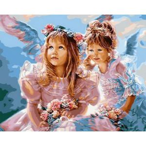 Картина по номерам 40х50 GX 29010 Ангелочки с букетами 40x50 см