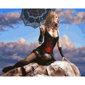 GX29022 Картина по номерам Девушка на камне 40x50 см