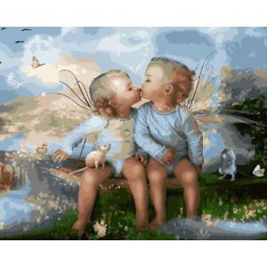 GX29024 Картина по номерам  Влюбленные ангелочки 40x50 см