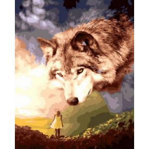 Картина по номерам GX29068 Девушка и волк 40x50 см