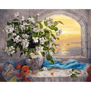 GX29105 Картина по номерам Букет и море 40x50 см