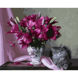 Картина по номерам GX29173 Кот и лилии 40x50 см