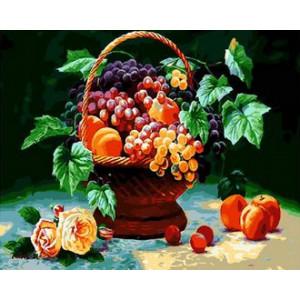 Картина по номерам 40х50 GX 29336 Корзинка с фруктами 40x50 см