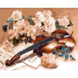 Картина по номерам GX29337 Цветы и скрипка 40x50 см
