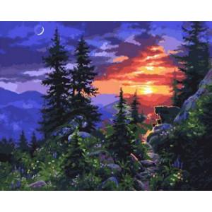 GX29849 Картина по номерам Закат в лесу 40x50 см