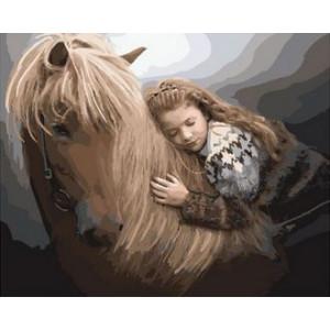 Картина по номерам 40х50 GX 29869 Девочка и конь 40x50 см