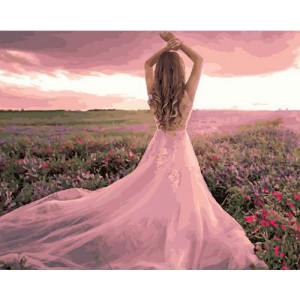 Картина по номерам 40х50 GX 30415 Розовое платье 40x50 см